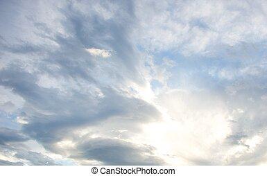 mooi, hemel, bewolkt