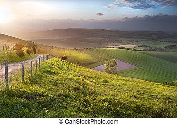 mooi, heuvels, platteland, op, engelse , rollend landschap