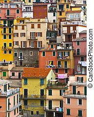 mooi, italy., woning, terre, pattern., cinque, -, achtergrond, vormen, kleurrijke, frontings