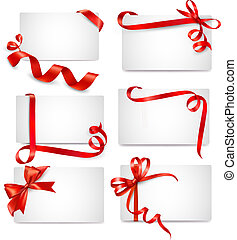 mooi, kaarten, set, rood