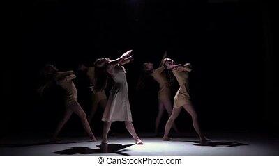 mooi, langzaam dansen, moderne, meiden, tijdgenoot, dans, motie, voortzetten, vijf, black , schaduw