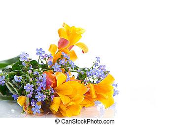 mooi, lentebloemen, bouquetten