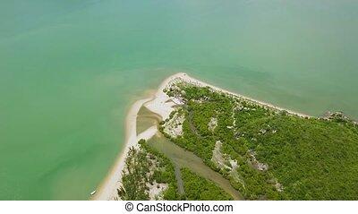 mooi, luchtopnames, zanderig, eiland, op, vliegen, shore., tropische , above., neuriën, groene, sea., zee, landscape, aanzicht