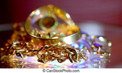 mooi, luxueus, jewelery, goud