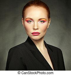 mooi, makeup, vrouw, beauty, verticaal