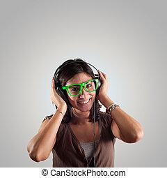 mooi, meisje, muziek, luisteren