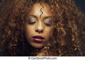 mooi, mode, amerikaan, vrouwelijke afrikaan, model