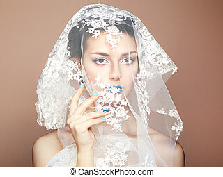 mooi, mode, foto, onder, witte , sluier, vrouwen