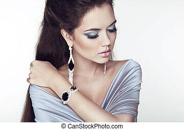 mooi, mode, juwelen, beauty, foto, accessories., brunette, vrouw, studio, make-up., professioneel, meisje, portrait.