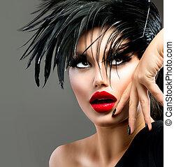 mooi, mode, kunst, hairstyle., punker, girl., verticaal, model