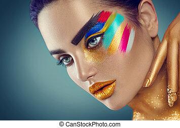 mooi, mode, kunst, kleurrijke, beauty, abstract, makeup, vrouw beeltenis