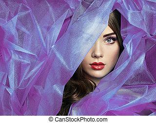 mooi, mode, paarse , foto, onder, sluier, vrouwen