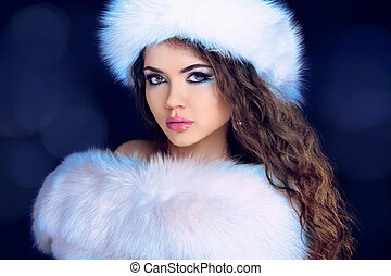 mooi, mode, vacht, winter, bontachtig, vrouw, model., hat., verticaal, meisje, jas