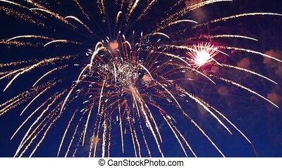 mooi, nacht, vuurwerk, hemel, tonen
