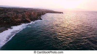 mooi, oever, vliegen, boven, zee
