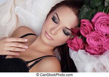 mooi, perfect, vrouw, beauty, face., flowers., relax., rozen, skin., make-up., professioneel, meisje, model