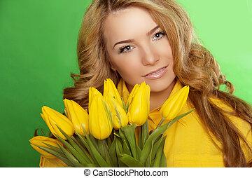 mooi, perfect, vrouw, beauty, face., flowers., tulp, skin., meisje, model