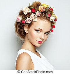 mooi, perfect, vrouw, beauty, foto, flowers., gezicht, skin., mode, portrait.