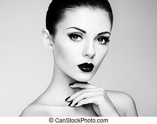 mooi, perfect, vrouw, beauty, makeup., verticaal