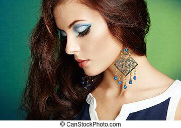 mooi, perfect, vrouw, earring., foto, makeup., mode, brunette, verticaal