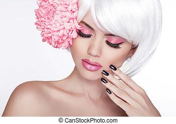 mooi, perfect, vrouw, vrouwlijk, sering, beauty, face., makeup, achtergrond, vrijstaand, manicured, flower., haar, fris, blonde , spa, skin., verticaal, witte , aandoenlijk, nails.