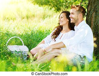 mooi, picknick, platteland, paar, jonge, hebben