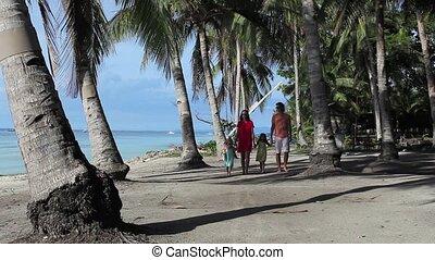 mooi, relaxen, gezin, jonge, vier, strand, genoten van