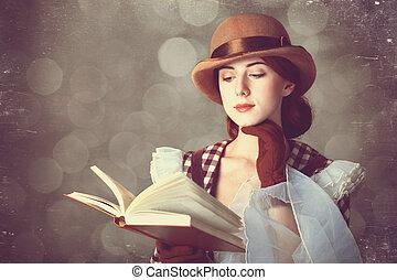 mooi, roodharige, book., vrouwen