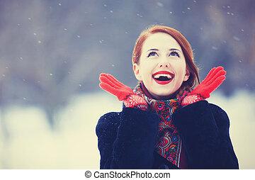 mooi, roodharige, park., winter, vrouwen