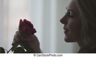 mooi, roos, vrouw, rood, ruiken