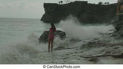 mooi, roze, bikini, vrouw, strand