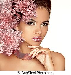 mooi, roze, vrouw, beauty, face., flowers., vrijstaand, makeup., skin., mode, white., make-up., perfect, professioneel, meisje, model, art.