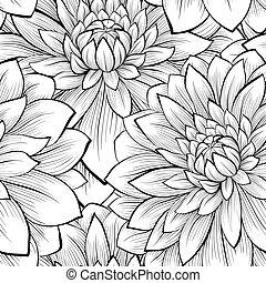 mooi, seamless, zwarte achtergrond, monochroom, witte bloemen