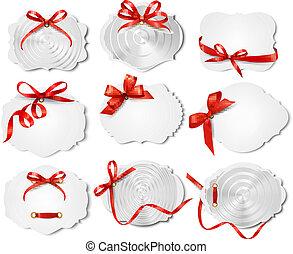 mooi, set, cadeau, buigingen, vector, ribbons., kaarten, rood
