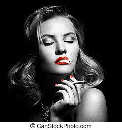 mooi, sigaret, vrouw, retro, verticaal