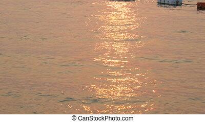 mooi, stralen, zon, oppervlakte, ondergaande zon , sea., zee, rood