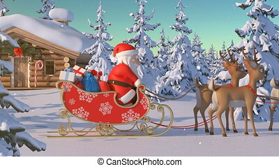 mooi, tekst, gaat, kerstmis, rendier, woning, groenteblik, groene, lichten, lapland., zo, animatie, claus, overal, kerstman, whenever, u, noordelijk, weg, 3d, vrolijk, optellen, informatietechnologie