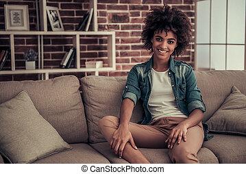 mooi, thuis, amerikaan, afro, meisje