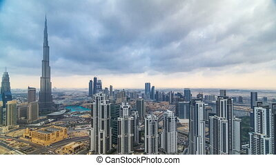 mooi, timelapse, dubai, verenigd, panoramisch, skyscrapers., arabier, beroemd, skyline, emirates., wereld overzicht