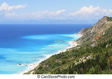 mooi, turkooise overzees, bomen, kust, isla, heuvels