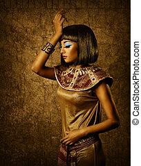 mooi, verticaal, vrouw, brons, egyptisch