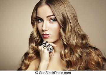 mooi, verticaal, vrouw, juwelen, jonge