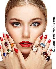 mooi, verticaal, vrouw, juwelen