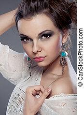 mooi, verticaal, vrouw, makeup