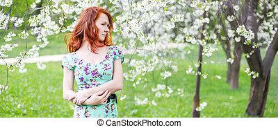 mooi, verticaal, vrouw, tuin