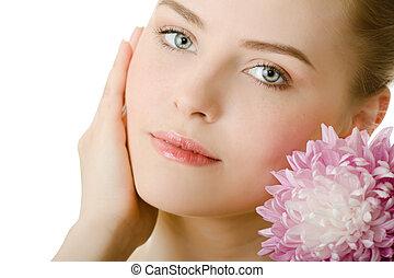 mooi, verticaal, vrouw, vrijstaand, bloem