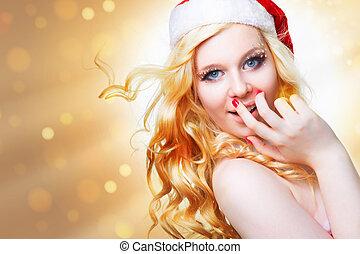 mooi, vervelend, claus, kerstman, sexy, meisje, kleren