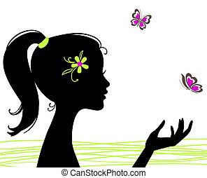 mooi, vlinder, meisje, silhouette