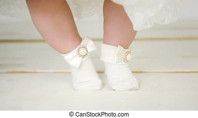 mooi, voetjes, witte , kousjes, kind