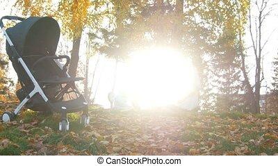 mooi, weinig; niet zo(veel), haar, leaves., son., jonge, herfst, zonlicht, moeder, baby, spelend